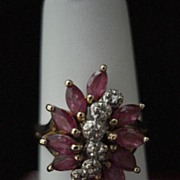 Vintage Ruby And Diamond Flower Ring