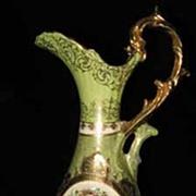 Royal Wettin German Porcelain Ewer With Female Cameo Portrait