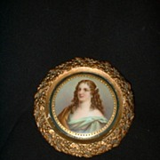 Miniature German porcelain Portrait of Woman signed Richter
