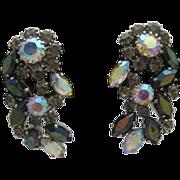 Giant Aurora Borealis Mauve Rhinestone Earrings W.Germany