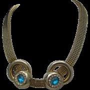 RARE Brookraft Aquamarine Rhinestone Box Linked Necklace