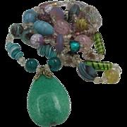 Lavender Foiled Glass Turquoise Pendant Necklace