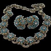 Cornflower Rhinestone Choker Necklace Earrings Set c1950