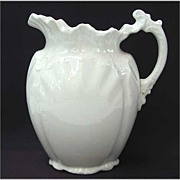 Antique White Ironstone Pitcher - Wedgwood & Co - Ornate Victorian Design