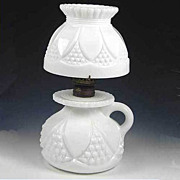Imperial Milk Glass Tulip and Cane Bundling Lamp Miniature
