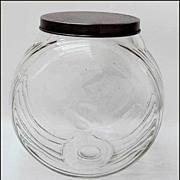 Sellers Hoosier Cabinet Glass Sugar Jar  Triple Skip