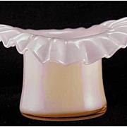 Fenton Glass Rose Overlay Top Hat Vase Crimped Ruffled 1940s