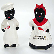 Black Americana Mammy & Pappy Salt & Pepper Shakers - Vintage Circa 1950s