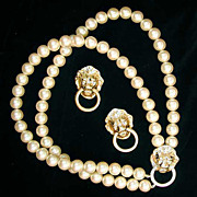 KJL Imitation Pearl Lion Head Necklace Set - Avon Society Collection - Kenneth Lane - Door Knocker