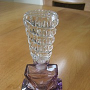 1/2 Price Shop Special! Pretty Vintage Art Deco Czech Perfume Bottle With Amazing Stopper