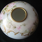 Lovely Vintage Hand Painted Porcelain Blooming Open Roses Limoges Hair Receiver or Trinket ~ Jewelry Box