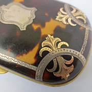Shop Special! Antique Pique Tortoise Shell Coin Purse with Gold and Silver Inlay ~ 19th Century