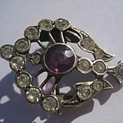 Antique Brooch Quartz Crystal with Genuine Deep Purple Amethyst ~ Victorian Period