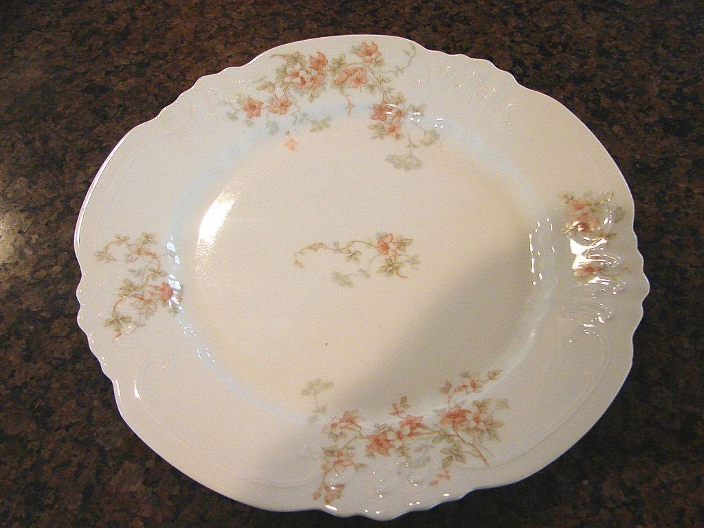 P & B Limoges Dessert Salad Plate Fancy Blank Peach Flowers