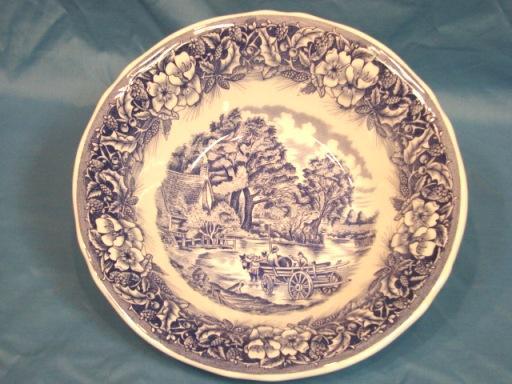Vintage Blue & White Serving Salad Bowl Peasant Scene Italy Ceramic Pottery