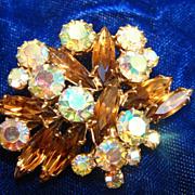 Aurora Borealis Amber Champagne Rhinestone Brooch