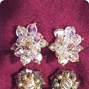 Hobé Rhinestone Aurora Borealis Earrings 2 Pair Gorgeous!