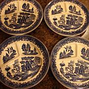 4 Occupied Japan Blue Willow Chop Plates Flow Blue Cobalt