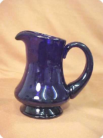 Cambridge Glass Cream Pitcher Cobalt Glass Royal Blue Elegant Depression Blown Art Glass