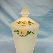 Depression Glass Satin Art Glass Covered Vase Jar Hand Painted Flowers