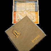 Arts & Crafts Linen  Woven Handkerchief Boxed Set Early 20th Century RCN283