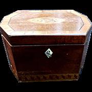 George III Tea Caddy Marquetry Inlaid C1780 Tea Box Chest