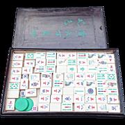 Mahjong Antique Set Ebonized Original Case Hand Carved Bamboo Bone Tiles