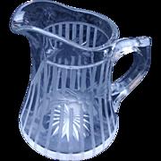 ABCG American Brilliant Cut Glass  Cut Engraved Milk Syrup Pitcher