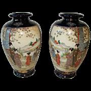 "Pair Satsuma Pottery Meiji Antique Vases Cobalt Scenic 10""  Free Shipping"