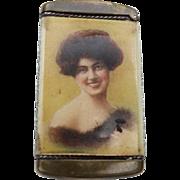 Beautiful Lady Advertising Match Safe Depot Inn Portland Oregon Antique