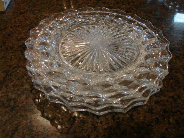 "2 Fostoria Glass American 9 ½"" Dinner Plates"