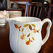 Hall's China Jewel Tea Autumn Leaf Rayed Milk Cream Pitcher Jug