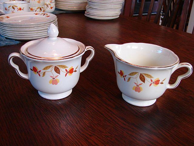 Hall's China Jewel Tea Autumn Leaf  Lidded Sugar Bowl With Creamer