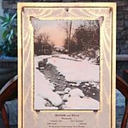 1934 Winter Solitude Print Advertising Pharmacists Calendar NM Free Shipping Art Deco Arts & Crafts Design