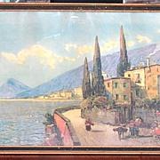 Early 20th Century 1920-1930s Mediterranean Print A Sunny Harbor Period Framing Original