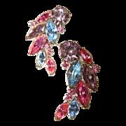 Rhinestone earrings, multi color