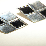 Taxco Mexico Sterling Silver & Onyx Modernist Pierced  Earrings.
