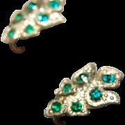 1920 Emerald Green Paste Early Rhinestone Screw back Earrings