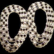 Vintage Black White Rhinestone Dangle Earrings