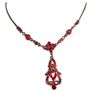 Edwardian Style Vintage Red Glass Necklace