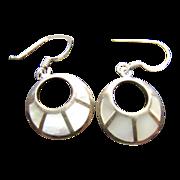 Vintage Sterling Silver Mother of Pearl Inlaid Earrings