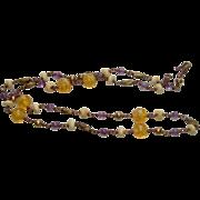 Vintage Handmade Amethyst and Hand blown yellow Swirls Necklace