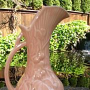 McCoy Coral Pitcher Vase Ewer Grape and Leaf Design Vtg 1940's