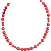 Vintage Deep Rich Red Glass Bead Necklace