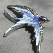Vintage Enameled Blue Bird Pin