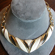 Monet Cream Gold Colored Chunky Necklace
