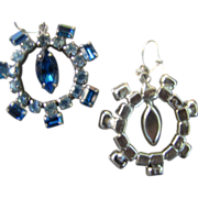 Remarkable Rich Blue Vintage  Pierced  Dangle Earrings