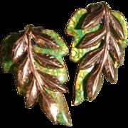 Matisse Copper Enameled Leaf  Clip Earrings