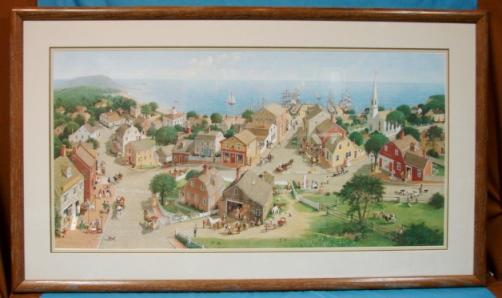 Chowdertown New England Charlotte Sternberg 1986 Limited Edition Print Custom Framed