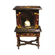 Japanned Painted China Cabinet Vitrine  Miniature Dollhouse Furniture Vintage & Miniature Doll  Figurine